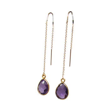 Fall Gemstone Threader Earrings