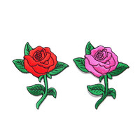Pink Rose Embroidered Pactch/ Applique