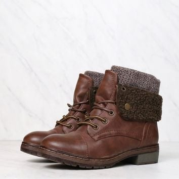 Coolway - Bring Leather Knit Sweater Cuff Ankle Boots in More Colors