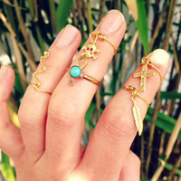 Gold Wire Charm KNUCKLE TIP Rings. Cross, Feather, Skull & Crossbones, RegalRose