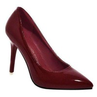 Office Style Pointed Toe and Patent Leather Design Pumps For Women - Burgundy 37