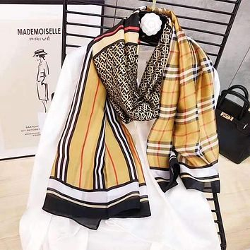Spring Summer Women Temperament Fashion Double-Sided Personality Lattice Print Spell Color Stripe Silk Scarf Shawl
