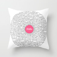 Hello Throw Pillow by Randyotter