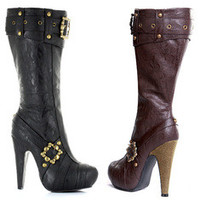 """Women's 4"""" Knee High Steampunk Boots With Buckles And Studs"""