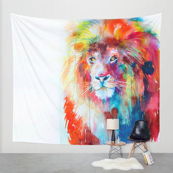 Lion Wall Tapestry by Slaveika Aladjova