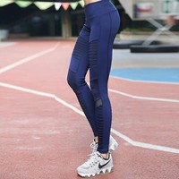 Pleated Mesh Compression Yoga Leggings