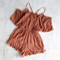 crinkled peek a boo shoulder romper with ruffle hem - brick