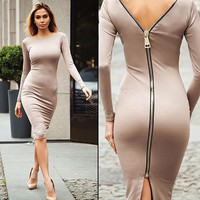 Fashion Back Zipper Office Dress Pencil Autumn Dresses Women Ukraine Long Sleeve Slim Elegant OL Bodycon Dresses For Women
