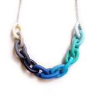 Ombre Blue Chain Necklace,  Handmade Oversized Chain Link Necklace