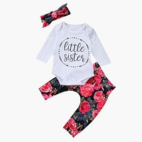 born Toddler Baby Girls Tops Letter Romper +Flower Pants +Bow Headband Outfits Set Clothes