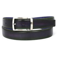 Men's Dual Tone Green & Purple Belt   Hand-Painted Leather