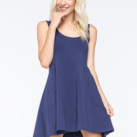 Angie Solid Knit Skater Dress Blue  In Sizes