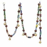 "Chime with Polished Brass Bells & Colorful Beads on 60"" Long String"