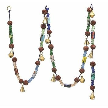 """Chime with Polished Brass Bells & Colorful Beads on 60"""" Long String"""