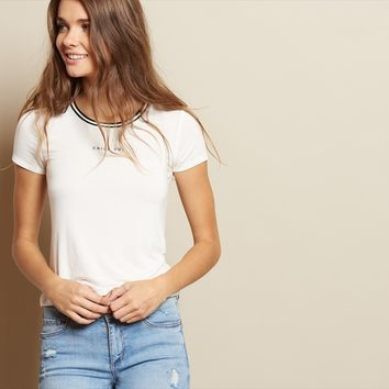 Sporty Graphic Ringer Tee