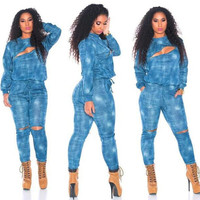 Sky Blue Long Sleeve Denim Jumpsuits with Cut-Out Details