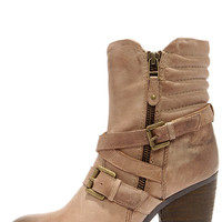 Steve Madden Raleighh Stone Beige Leather Ankle Boots