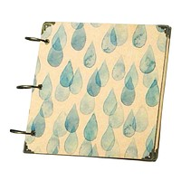 High Quality 8 Inches Square Scrapbook Kraft Paper Rainy Blue Hinged Rings Keychain DIY Photo Album