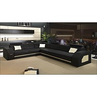 Black Bright  Sectional Leather Sofa