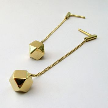 Cube octahedron long earrings gold-plated