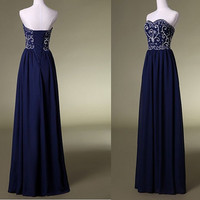Navy bridesmaid dresses prom dresses embroidered beaded evening dress prom dress party dress ball gown chiffon beach dress
