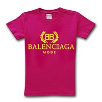 Balenciaga 2019 new street fashion loose round neck half sleeve T-shirt Rose red