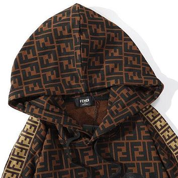 Fendi 2020 new men's and women's printed classic pattern hooded sweatshirt and sweater for lovers