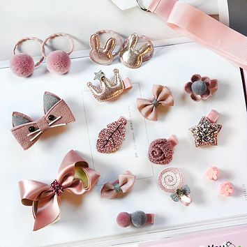 18pcs Head wear Set Child Elastic Bow knot Hair Clips Crown Rabbit Flower Barrettes Hairpins Kids Girls Xmas Gift Jewelry
