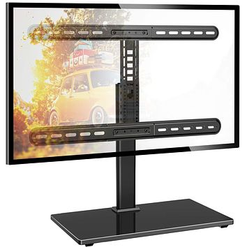 PERLESMITH Universal Swivel Table Top 37-65 inch LCD/OLED/Flat Screen/4K Height Adjustable TV Stand Mount with Heavy-Duty Tempered Glass Base, VESA 600x400mm, Black