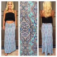 Under The Sea Paisley Maxi Skirt - AQUA