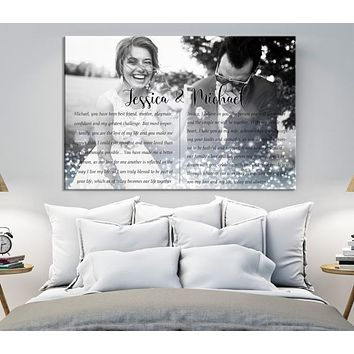 Wedding Vow First Lyrics Personalized Wall Art Canvas Print
