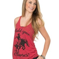 Country Deep Women's Vintage Red Hold Your Horses Tank