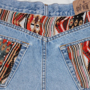 High Waisted Aztec/Tribal Shorts