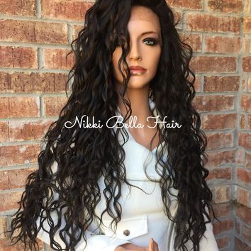 """Brown Wavy Swiss Human Hair Blend Multi Parting lace part wig 26"""""""