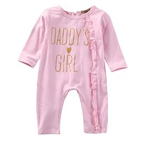 Pink Long Sleeve Newborn Baby Girls Romper Jumpsuit suit Clothes Outfits autumn clothes Set 2016