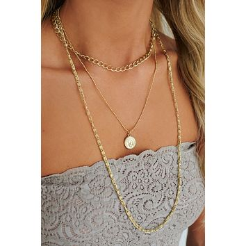 She's A Charmer Layered Necklace (Antique Gold)