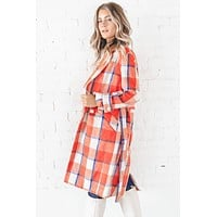 Tell You All My Secrets Orange Plaid Coat