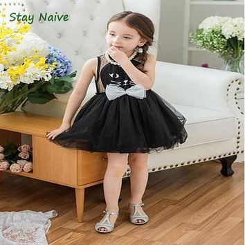 2017 New Arrival Summer Girl Dresses Cat Print Girls Clothes Baby Casual Dress Princess Party Children Costume