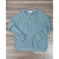 Lace Up Grommet Knit Sweater in Sage