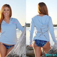 light weight starfish star fish clothing, seastar sew eater or jacket perfect for the beach or boat summer time