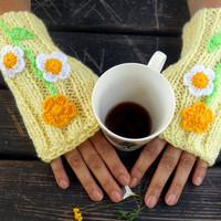 Fingerless Gloves, Knitted Gloves, Light Yellow Gloves, Crochet Gloves, Women Gloves,Winter Gloves,Handmade Gloves,Gift Ideas,Jasminejasmine
