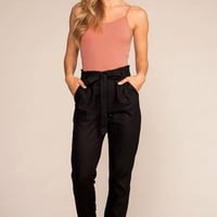 Evening Breeze Paperbag High Waisted Pants - Black