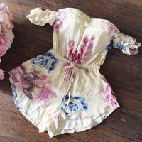 Apricot Floral Print Lace Fringed Drawstring Romper