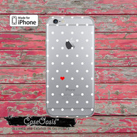 Polka Dot Pattern Red Heart White Dots Cute Clear Case iPhone 6 Plus iPhone 6s iPhone 6s Plus iPhone 5 iPhone 5c iPhone SE iPhone 7 + Case