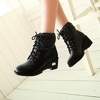 Cute Lace Up Chunky Heel Warm Short Boots