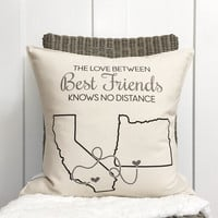 """18"""" Distance Pillow - You Choose the Cities and States - Best Friends Pillow - Going Away Gift - Customizable Pillow - For Her - 18"""" Cushion"""