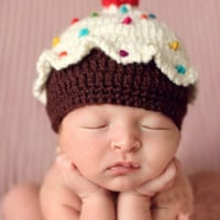 Cupcake Baby Knit Newborn Photo Prop Hat - CCN27