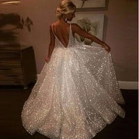 Summer Long White Party Dress Women Ladies Open Back Sequin Maxi Dress Elegant Formal Wedding Evening Party Prom Gown Dresses