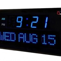 Ivation Big Oversized Digital Blue LED Calendar Clock with Day and Date - Shelf or Wall Mount(16 inches - Blue LED)