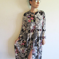 Vintage 80s 90s Black Floral and Lace Print Oversize Baby Doll Dress
